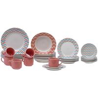 Aparelho De Jantar Chá 30 Peças Biona Cerâmica Redondo 079768
