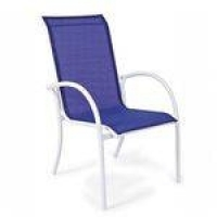 Cadeira Empilhável Mestra Móveis Azul/Branco