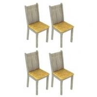 Conjunto 4 Cadeiras Lucy Madesa Acácia Palha