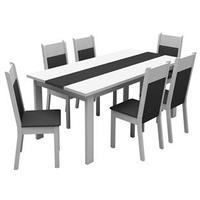 Conjunto de Mesa com 6 cadeiras Madesa Veneza  Branco e Preto