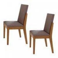 Conjunto 2 Cadeiras Lira Móveis Lopas Rovere Naturale/Velvet Rosê