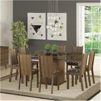 Mesa De Jantar Com 8 Cadeiras Camila Madesa Rustic e Cacau