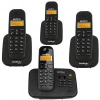 Telefone sem Fio Intelbras TS3130 Preto + 3 Ramais sem Fio TS3111 Preto