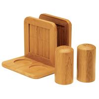Conjunto de Saleiro, Pimenteiro e Porta-Guardanapos Welf Michigan TE-00843 Marrom 3 Peças
