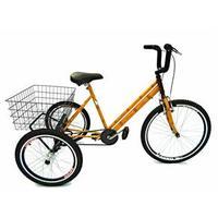 Bicicleta Triciclo Valdo Bike Aro 26 Amarelo Bambu
