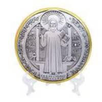 Medalhão São Bento curvado 15cm - Enfeite Resina