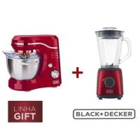 Batedeira Planetária Black&Decker PLAN1000V Vermelha + Liquidificador Black&Decker Gift L600V 600W Vermelho