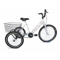 Bicicleta Triciclo Valdo Bike Aro 26 Branco e Floral
