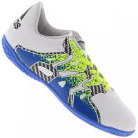 Chuteira de Futsal adidas X 15.4 In Infantil Branca e Azul  2d592b25a54fb