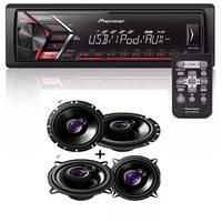 MP3 Player Automotivo Pioneer MVH-S108UI 1 Din Preto + 6' TS1760 200W