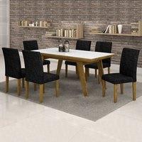 Conjunto Sala de Jantar Mesa Esmeralda Tampo Vidro Branco 6 Cadeiras Classic Cel Móveis Ypê/ Veludo Envelhecido 69