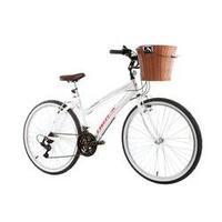 Bicicleta Aro 26 Modelo Confort Week 200 Plus Alumínio 21V Shimano Cesta Vime Track e Bikes Branco