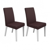Cadeiras Madesa 4128 Estofada Marrom e Branca 2 Peças
