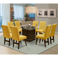 Mesa para Sala de Jantar Saint Louis com 8 Cadeiras – Dobuê Movelaria - Castanho / Canario