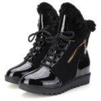 Womens Warm Winter Fur Neve Thicken Botas Lace Up Zip Meia-perna Ankle Boots Shoes