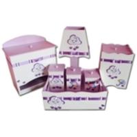 Kit Higiene Para Bebê Em Mdf Nuvem Chuva De Amor Lilás