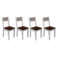 Kit com 2 Cadeiras Madesa Rubia Maxi  Branco e Âmendoa