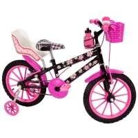 Bicicleta Infantil Sport Bike Flowers Black Cadeirinha De Boneca Aro 16 Preta e Rosa