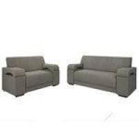 Conjunto De Sofa 2 E 3 Lugares Atlanta Estofar Tecido Suede Cinza