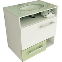 Gabinete para Banheiro Tomdo Linea 17/60cm com Pia de Vidro Branco e Verde