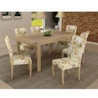 Conjunto De Mesa Liptus Extensível 1.60 à 1.90cm + 6 Cadeiras Estofadas Paula Grace Corazzi