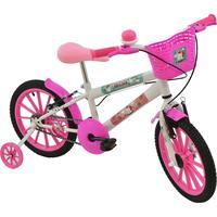Bicicleta Poli Sport Unicórnio Polikids Aro 16 Rosa e Branca