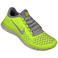 new style e884c 6acba Tênis Nike Free 3.0 V4 Feminino Cinza e Verde Limão .