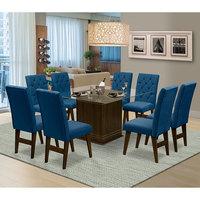 Mesa para Sala de Jantar Saint Louis com 8 Cadeiras – Dobuê Movelaria - Castanho / Royal