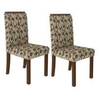Conjunto 2 Cadeiras 4157 Madesa Rustic bege marrom
