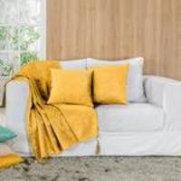 Xale para Sofá Glamour Tecido Suede com Pedraria Amarelo