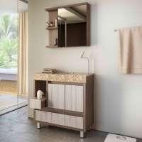 Gabinete Para Banheiro Com Pés Espelheira E Tampo Em Granito Gaam Onix Pietra 80cm Ameixa grigio