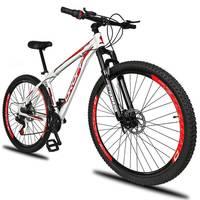 Bicicleta Aro 29 DROPP Aluminum 21 Marchas Freio a Disco e Suspensão Branco e Vermelho