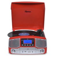 Toca Discos Raveo Jazz Vermelho Bluetooth Usb E Sd Fm Cd Player E Gra