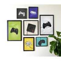 Conjunto Kit 7 Quadros Decorativos Controles Video Game Xbox