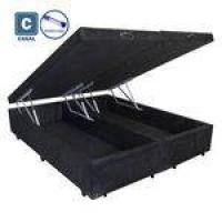 Cama Box Casal Com Bau Pistão A Gás Preto Suede Bipartido - 138x188x35