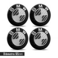 Jogo 4 Emblema Roda  BMW 65mm Preto Calota