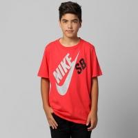Camiseta Nike SB Logo Infantil Masculina Vermelha  dc63f77d68c