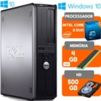 Computador Dell Intel Core 2 Duo 4GB HD 500GB Windows 10 Pro Wifi Desktop Pc - Novo de Mostruário