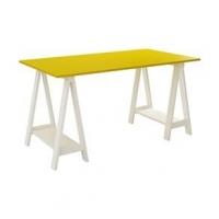 Mesa Escrivaninha Cavalete Tampo Branco e Amarelo