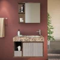 Gabinete Para Banheiro Suspenso Com Espelheira E Tampo Em Granito Gaam Onix Pietra 80cm Ameixa grigio