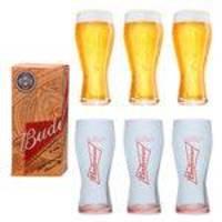 Coleção 6 Copos Budweiser 400ml - Embalagem Individual