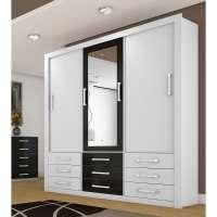 Guarda roupa Casal Com Espelho Anjos 3 Portas Carioca Móveis Branco e Preto