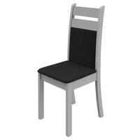 Kit de Cadeiras Madesa Diana Myria Branco e Preto 2 Peças