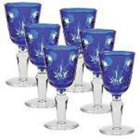 Conjunto De Tacas De Cristal Lapidado - 6 Pcs - Azul Escuro - 60 - Mem