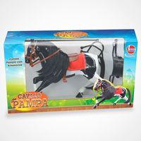 Cavalo Pampa Líder Brinquedos Branco e Preto com Acessórios