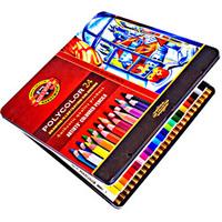 Estojo Metálico Koh-I-Noor com Lápis de Cor Artístico Polycolor com 24 Cores