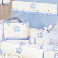 Kit De Berço Realeza Azul 9 Peças 100 Algodão