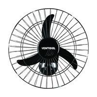 Ventilador de Parede Ventisol 50cm com 3 Pás 200w Preto 538 Bivolt