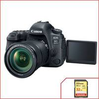 Câmera Canon 6D Mark II 26.2MP Preta + Lente 24-105mm f/3.5-5.6 IS STM + Cartão 32GB