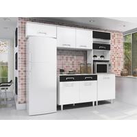 Cozinha Compacta Madine Móveis Lorena 5 Portas Branca e Preta